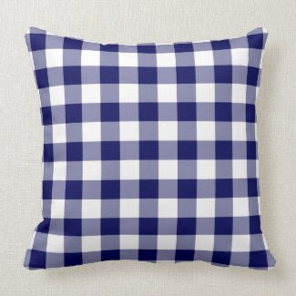 Navy and White Gingham Pattern Pillow