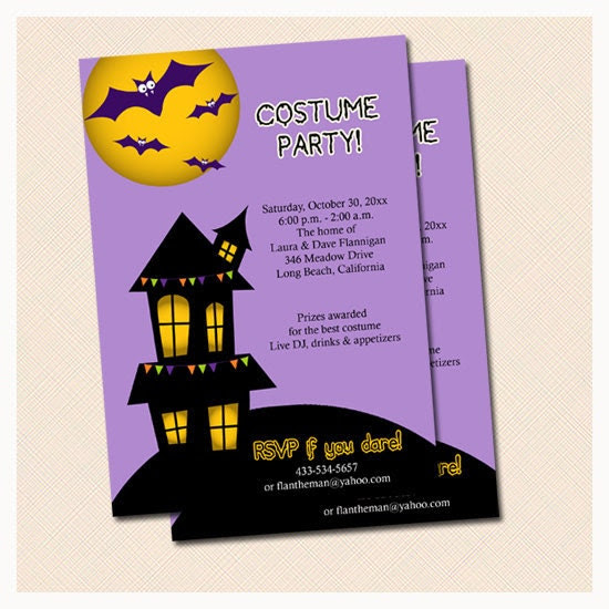 Spooky Haunted House Halloween Party Invitations Print Your Own JPG Digital File