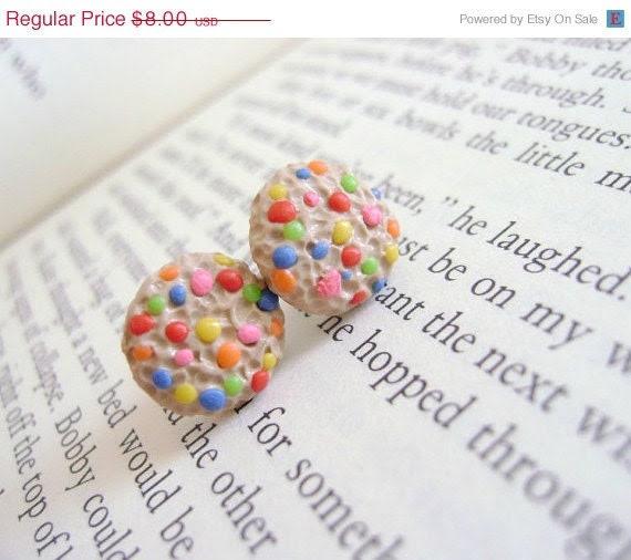 SALE Cookie Earrings-Rainbow Chip
