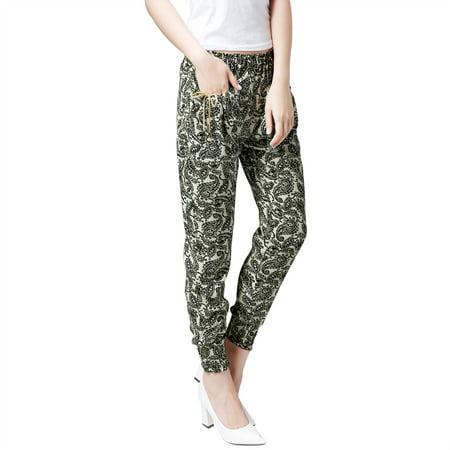 Allegra K Women's Elasticized Waist Loose Fit Pants Beige (Size L \/ 12)