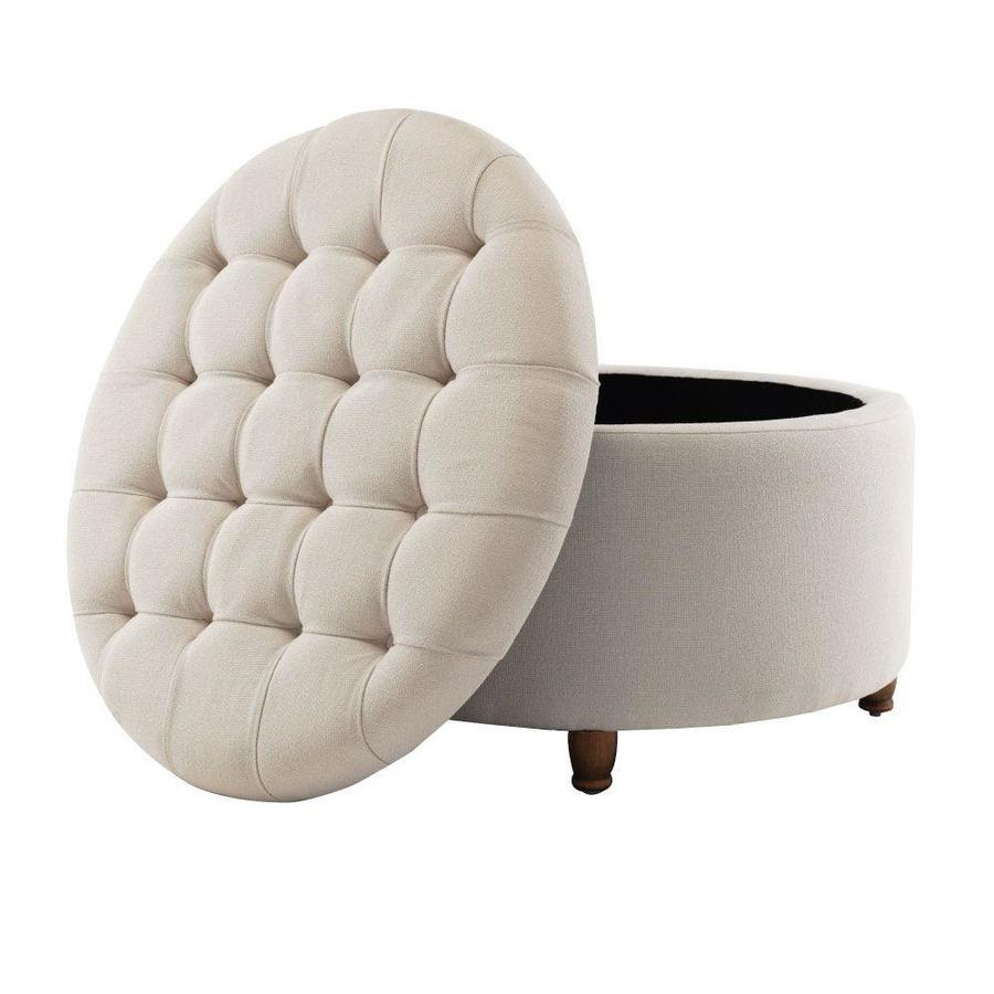 Eluxury Casual Cream Round Storage Ottoman In The Indoor Ottomans Department At Lowes Com