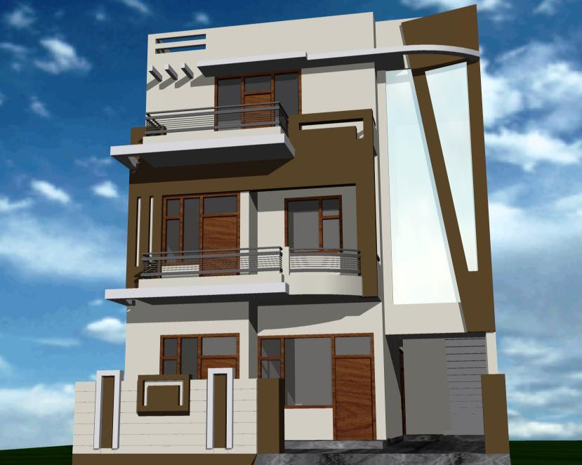 30 Front Colony House With Outside Wall Design Simple Less
