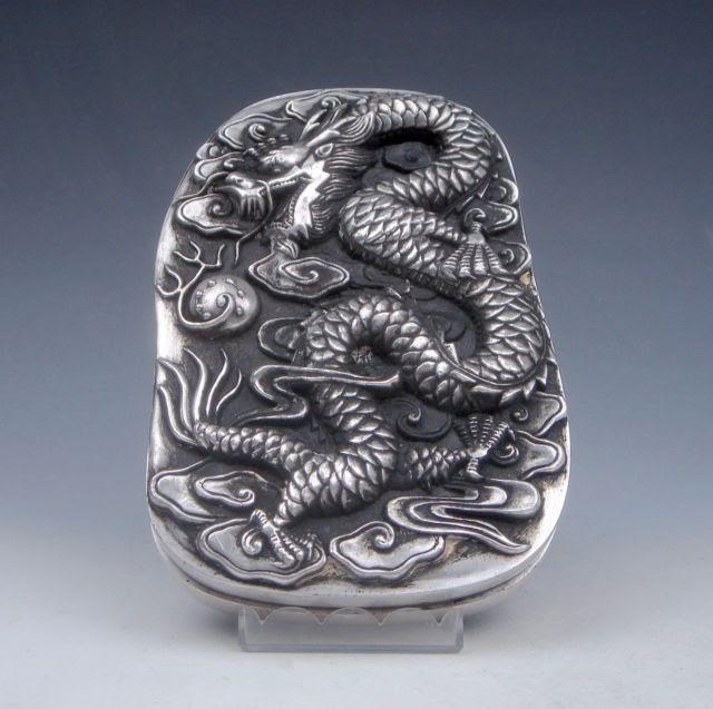 Beste Koop Uitgebreide Chinese Collectibles Tibetaans Zilver Double Dragon Spelen Pearl Inkt Plaat Doos Goedkoop