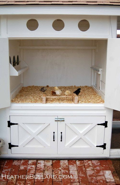 @Carrie Plowman this seems like something you need (not) ~separate area for brooder or sick chicken  ~could put removable solid panel in the back  ~when removed there is hardware cloth, so chickens can get to know each other  ~round vents  ~love the white with oil rubbed hardware  ~storage underneath