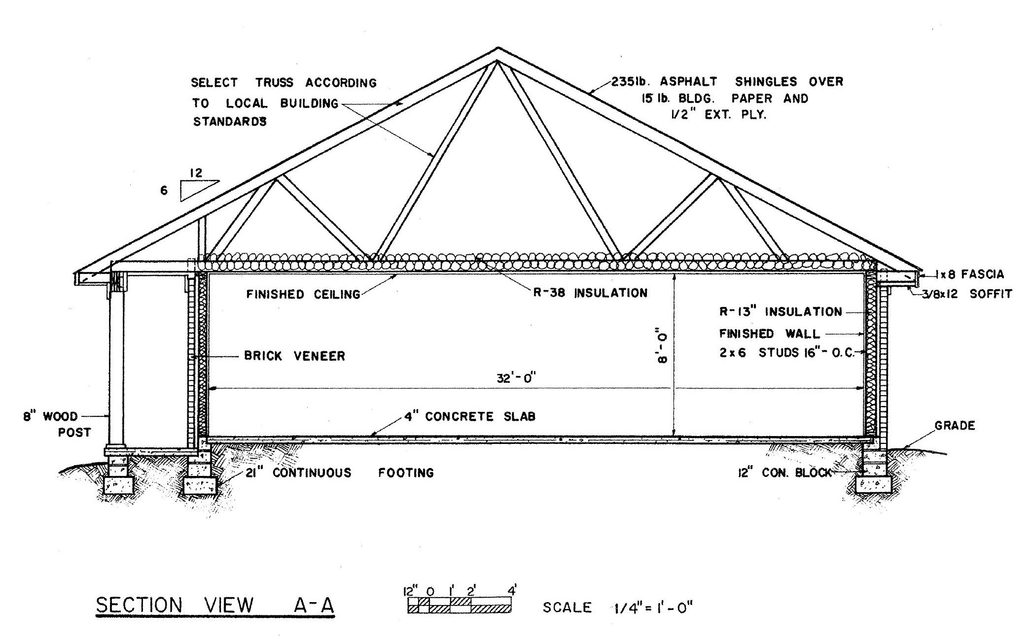 Residential Building Plan  And Section  View
