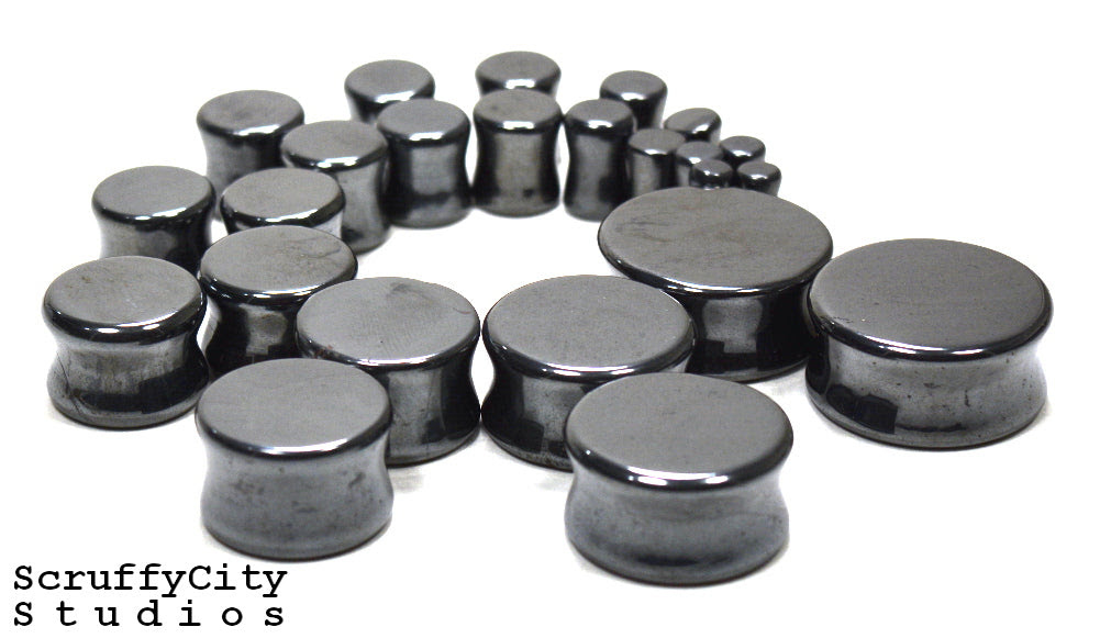 Hematite Double Flare Plugs Scruffy City Studios