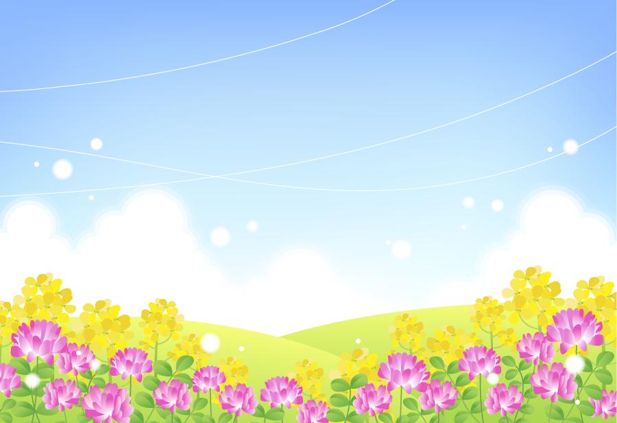 フリーイラスト れんげと菜の花と青空の風景でアハ体験 Gahag 著作