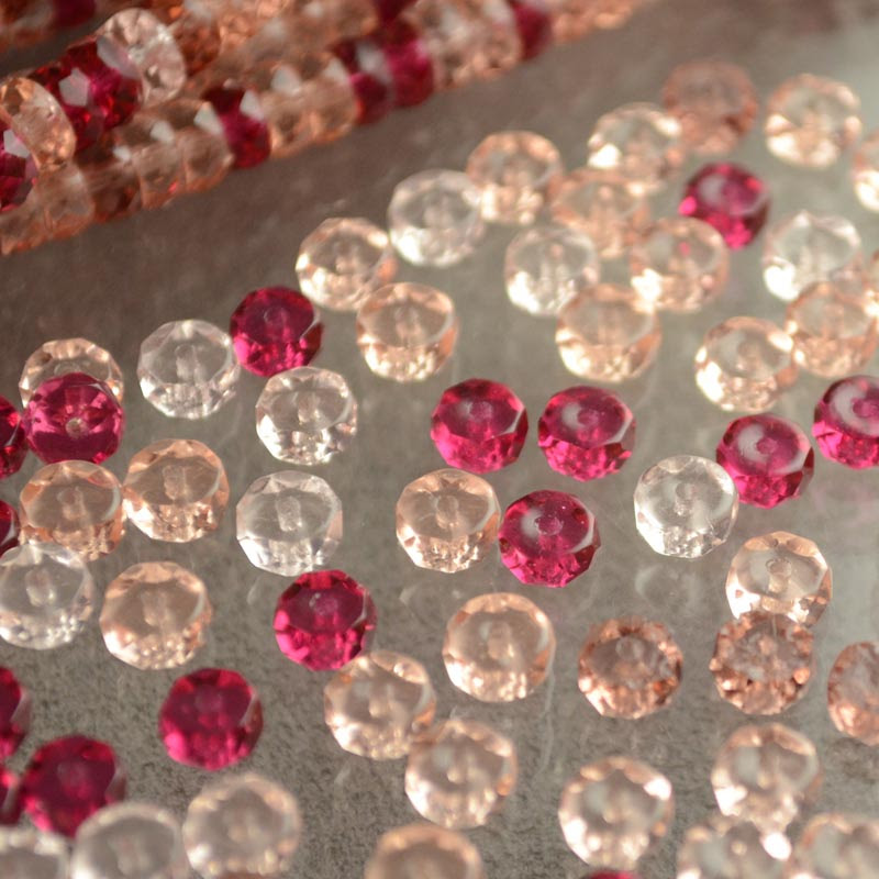 s36211 Firepolish - 6 mm Faceted Wheel/Rondelle - Rosewater (50)