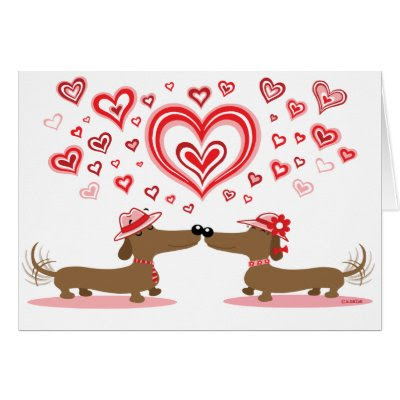 Valentine Dachshunds - Cute Valentine's Day Card