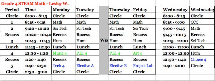 4th Grade Daily Schedule - Lesley Wighton STEAM Mathematics 3rd ...