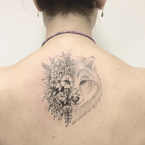 Tattoo Tagged With Animal Back Black And Grey Flower Wolf