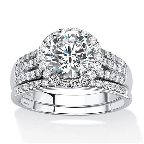 Cubic Zirconia Wedding Ring Sets White Gold Cheap, Cubic