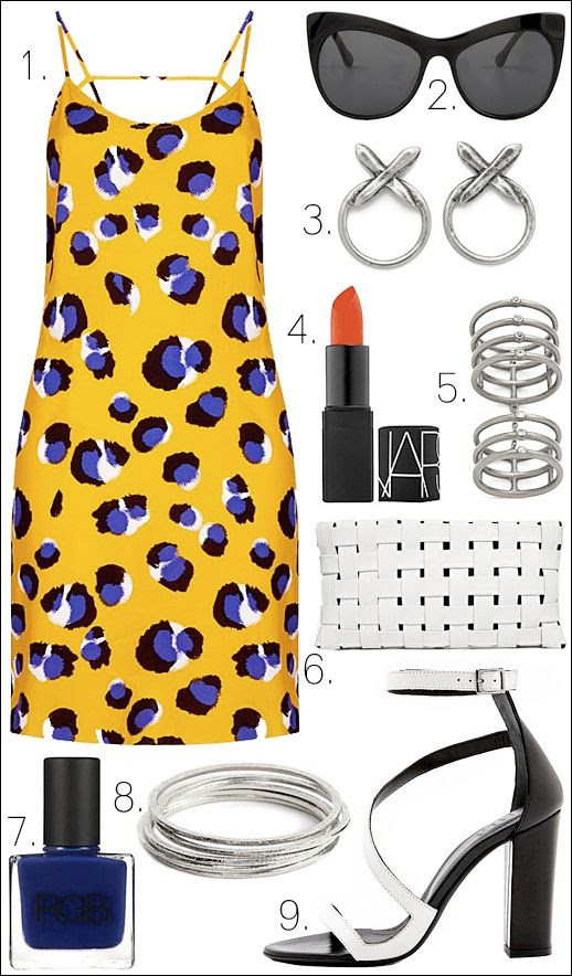 LE FASHION OUTFIT COLLAGE Topshop Nordstrom Bright Yellow Blue Leopard Animal Print Slip Dress Elizabeth and James Lafayette Cat Eye Sunglasses Luv AJ Silver Crystal Cross Statement Earrings Nars Lipstick in Heat Wave Red Orange Semi Matte Elizabeth and James Berlin Silver Jeweled Knuckle Ring ASOS White Leather Contrast Weave Clutch Bag RGB Nail Color in Cobalt Blue Bauble Bar Silver Bangle Quintet Bracelets Tibi Ida White Asymmetrical Sandals Heels Summer Inspiration Get The Look photo LEFASHIONOUTFITCOLLAGETopshopDressElizabethandJamesSunglassesLuvAJEarringsNarsLipstickElizabethandJamesRingASOSClutchBagRGBNailColorBaub-1.jpg