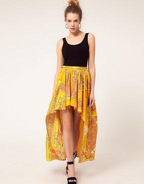 Image 1 ofRiver Island Scarf Print Dipped Hem Skirt