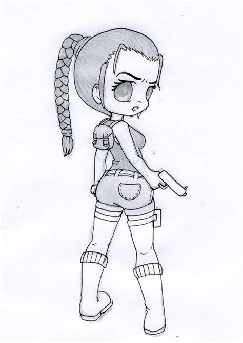 chibi lara croft pencil  xxcute kittyxxdeviantartcom