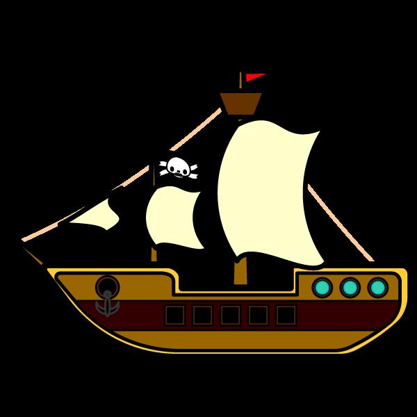 かわいい海賊船の無料イラスト商用フリー オイデ43