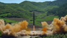 """This picture taken and released on July 4, 2017 by North Korea's official Korean Central News Agency (KCNA) shows the test-fire of the intercontinental ballistic missile Hwasong-14 at an undisclosed location. North Korea declared on July 4 it had successfully tested its first intercontinental ballistic missile -- a watershed moment in its push to develop a nuclear weapon capable of hitting the mainland United States. / AFP PHOTO / KCNA VIA KNS / STR / South Korea OUT / REPUBLIC OF KOREA OUT   ---EDITORS NOTE--- RESTRICTED TO EDITORIAL USE - MANDATORY CREDIT """"AFP PHOTO/KCNA VIA KNS"""" - NO MARKETING NO ADVERTISING CAMPAIGNS - DISTRIBUTED AS A SERVICE TO CLIENTS THIS PICTURE WAS MADE AVAILABLE BY A THIRD PARTY. AFP CAN NOT INDEPENDENTLY VERIFY THE AUTHENTICITY, LOCATION, DATE AND CONTENT OF THIS IMAGE. THIS PHOTO IS DISTRIBUTED EXACTLY AS RECEIVED BY AFP.   / STR/AFP/Getty Images"""