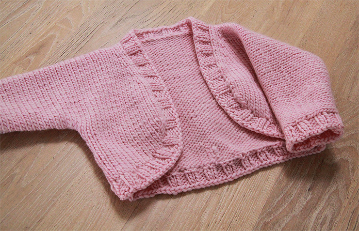 Pink Baby Shrug - finished