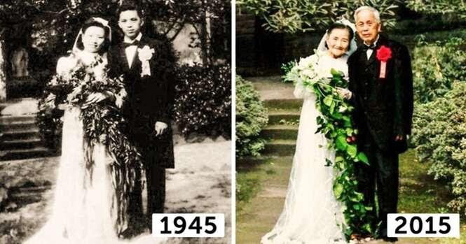 Casal de 98 anos recria fotos de casamento 70 anos depois