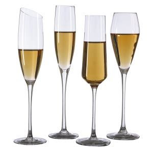 Hand blown crystal wine glasses oblique mouth champagne