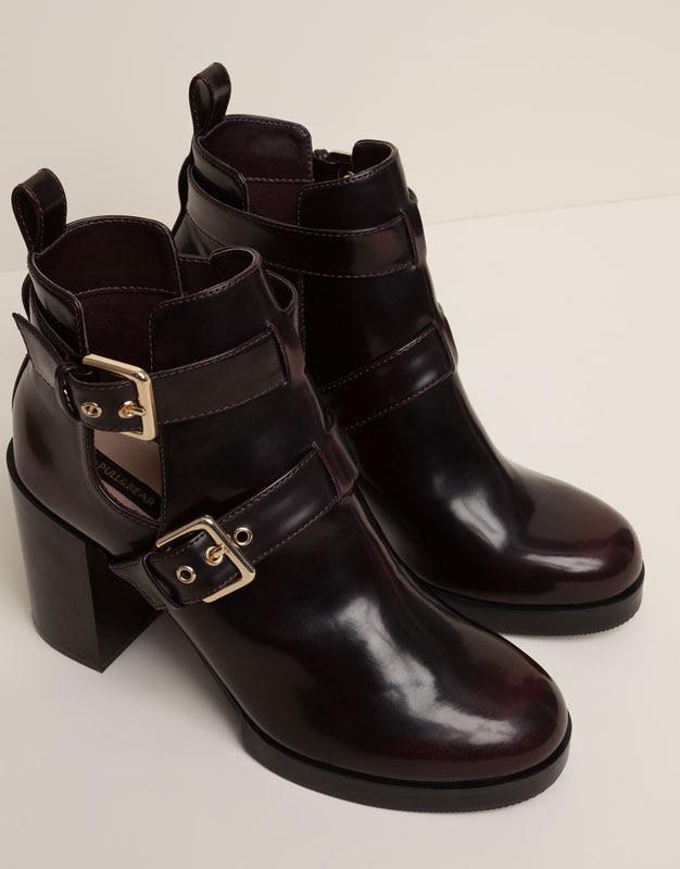 Pull&Bear - mujer - zapatos mujer - botín tacón 2 hebillas - burdeos - 15295011-V2016