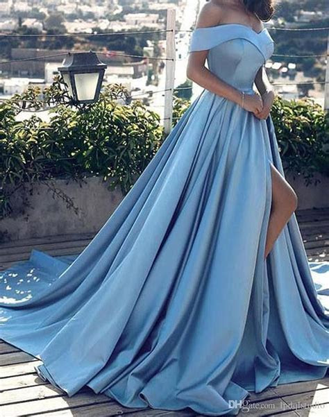 Light Blue Evening Dresses Off Shoulder Long Sexy Side
