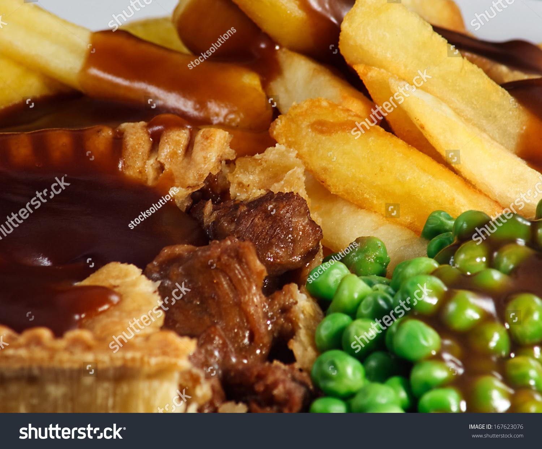 Close Steak Pie Chips Peas Gravy Stock Photo 167623076 ...