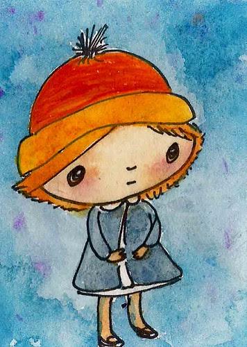 Girl with orange hat
