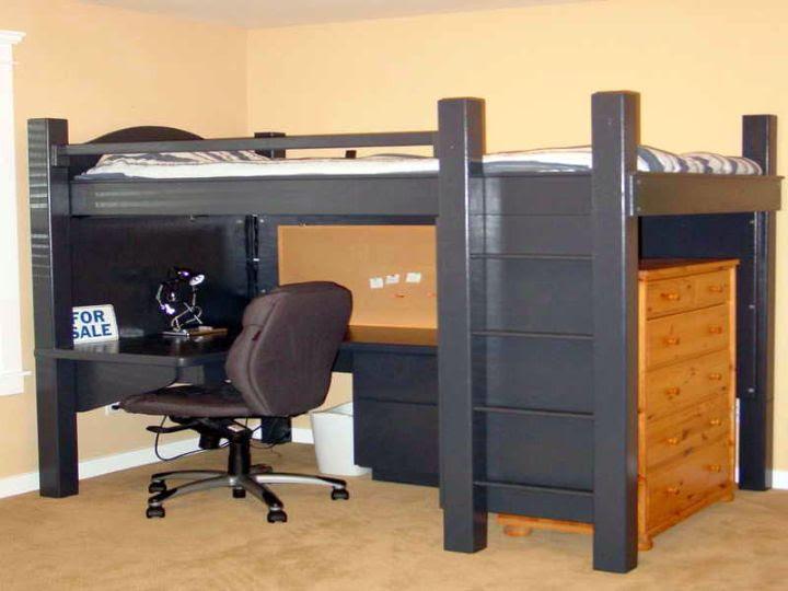 low adult loft beds with desk