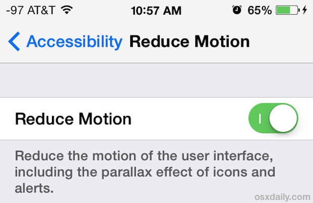 Reduce Motion in iOS 7 to reduce nausea