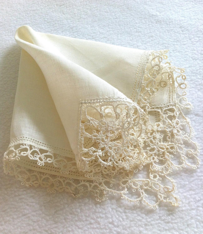 Handkerchief Vintage Tatting Ecru Wedding Valentines Day Mothers Day