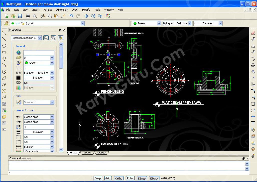 Sicrazycute: Cara Menggambar Part Mesin dengan AUTO CAD