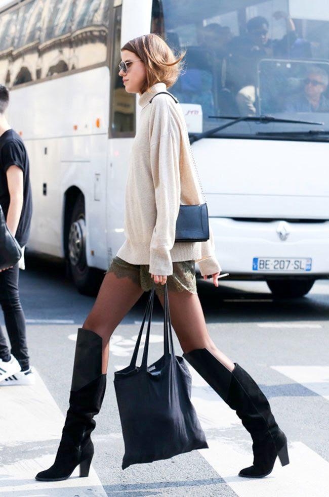 Le Fashion Blog -- Paris Street Style: Turtleneck Sweater, Lace Shorts, Sheer Tights & Knee High Boots -- Fall Transition Inspiration -- Via Elle -- photo Le-Fashion-Blog-Paris-Street-Style-Turtleneck-Sweater-Lace-Shorts-Knee-High-Boots-Fall-Transition-Via-Elle.jpg