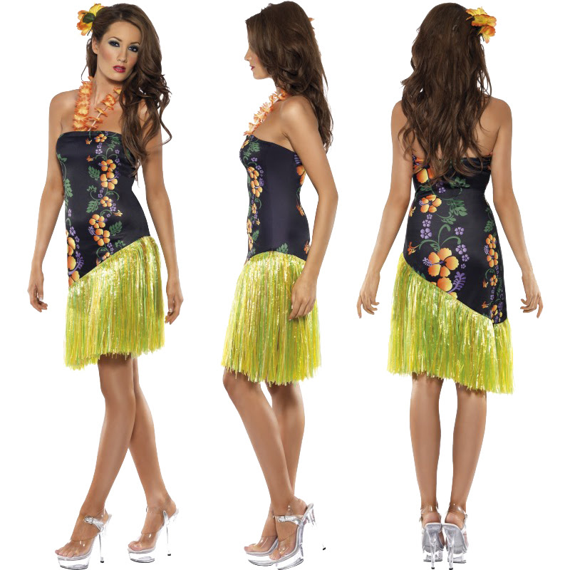 ladies hawaiian fancy dress costume mens hula summer beach