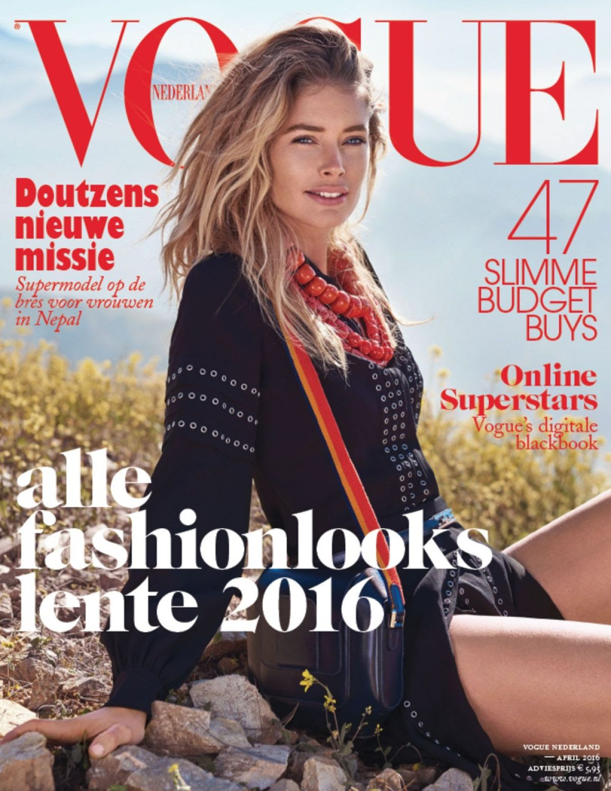 DOUTZEN KROES on the Cover ov Vogue Magazine, Netherlands April 2016 Issue