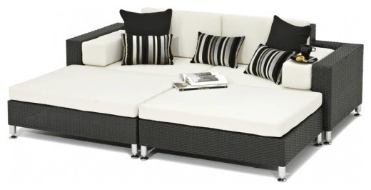 Black Rattan All-weather Outdoor Garden Daybed ...