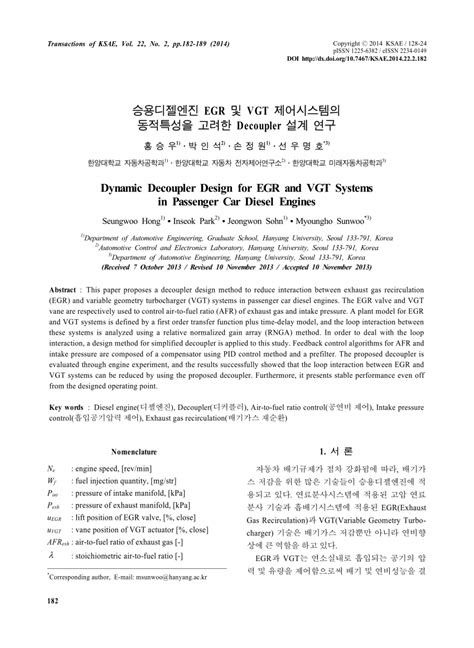 (PDF) Dynamic Decoupler Design for EGR and VGT Systems in