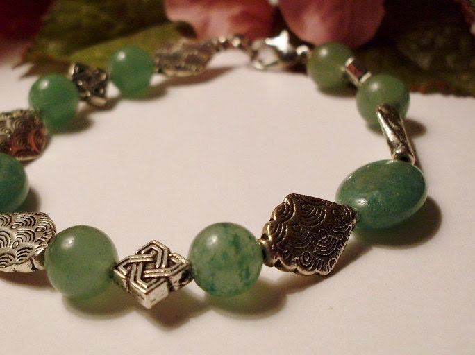 Bracelet of Green Aventurine with Silver Accents