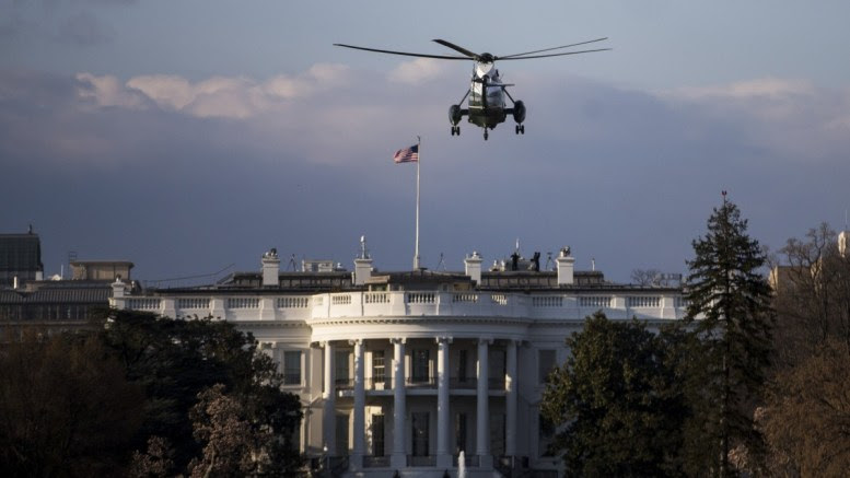 Marine One approaches the White House carrying US President Donald J. Trump in Washington DC, USA, 25 March 2018. Trump was returing from the weekend spent in Florida. EPA, Zach Gibson / POOL