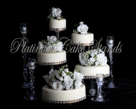 5 TIER CASCADE WEDDING CAKE STAND W/ 4 VOTIVE SET (STYLE