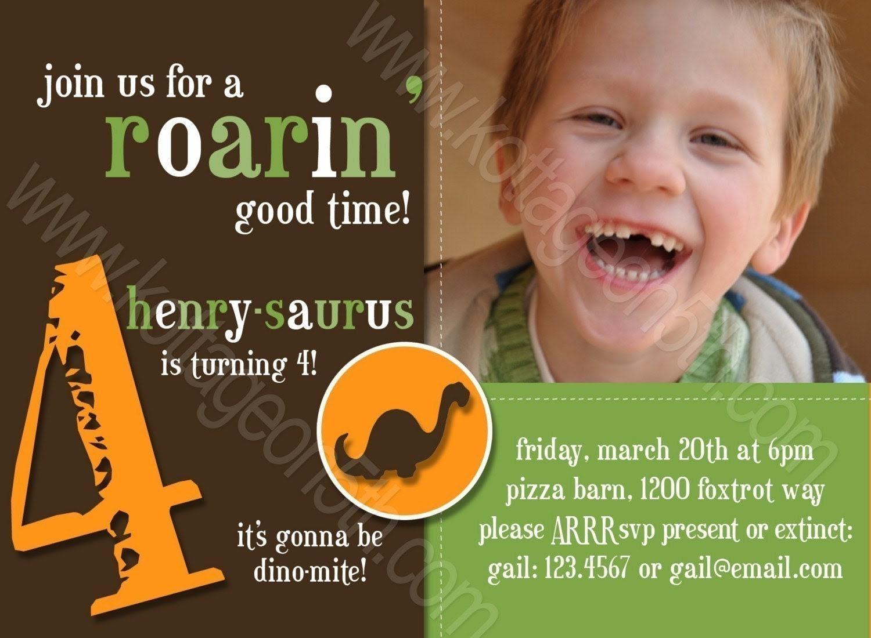 Dino Mite 2 (Boy) - Dinosaur Printable Birthday Party Card Invitation - Digital File - You Print