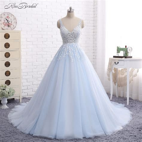 Baby Blue Wedding Dresses Vestido de Noiva 2017 A Line V
