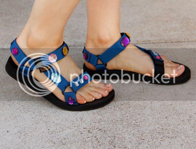 Prada inspired DIY jeweled rhinestone Teva sandals, sporty sandals trend