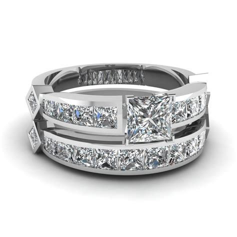 Princess Cut Diamond Channel Set Princess Accent Wedding
