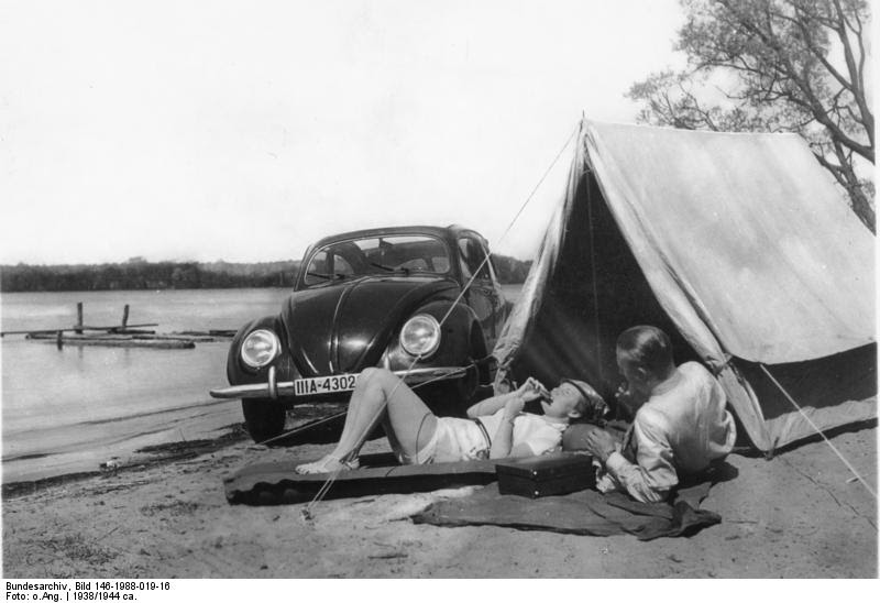 camping with the kdf-wagen (volkswagen beetle) c.1938