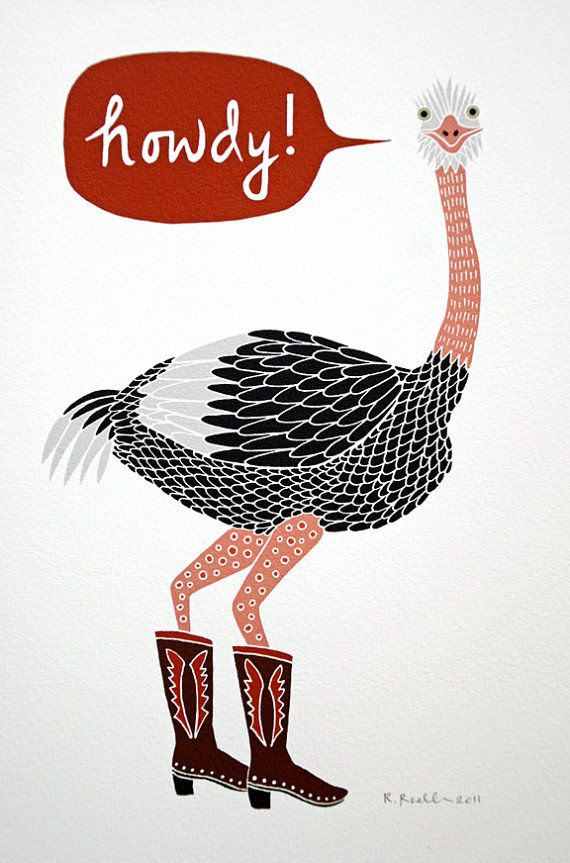 Ostrich in Cowboy Boots - Giclee Print