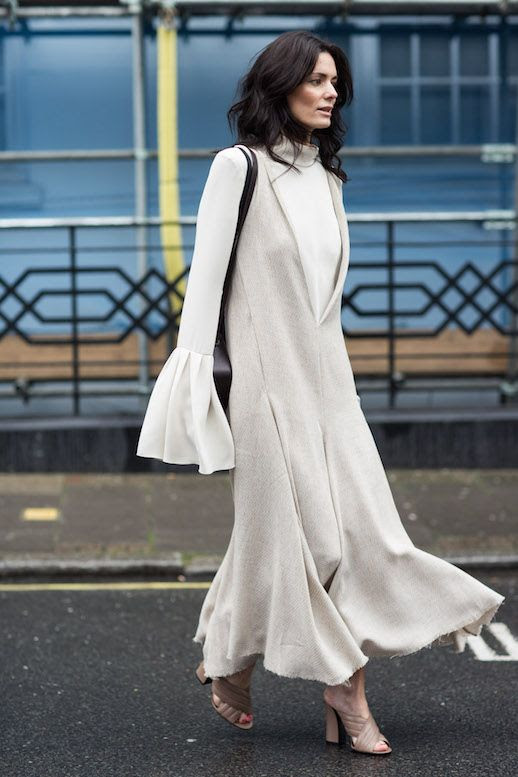 Le Fashion Blog Hedvig Opshaug Streetstyle Fluted Sleeves Turtleneck Shoulder Bag Deep V Textured Raw Hem Dress Gucci Crossover Sandals Via A Love Is Blind