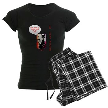Funny Sexy Black Cat Diva Women's Dark Pajamas
