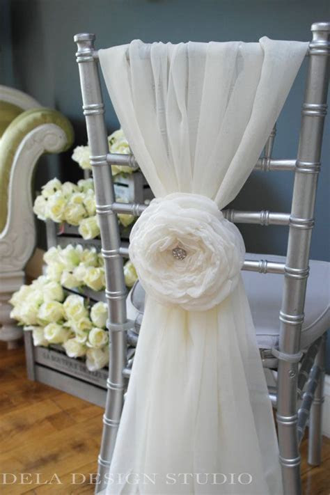"Wedding 7"" Fabric Flower   Cloud Rose   Wedding Chair"