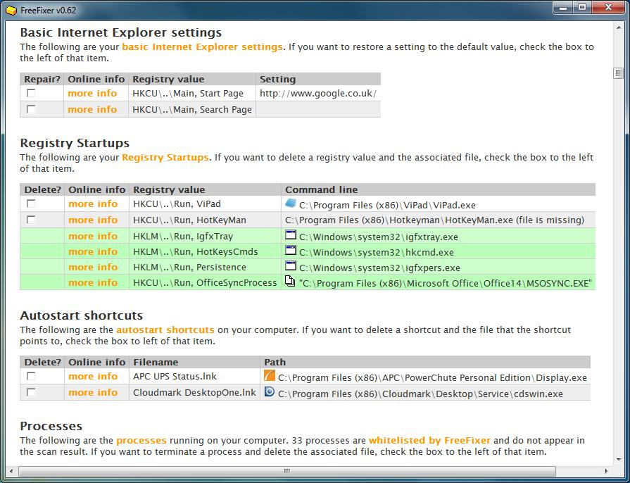 برنامج مجانى للكشف عن وإزالة البرامج الضارة والخبيثة وبرامج التجسس FreeFixer 1.05